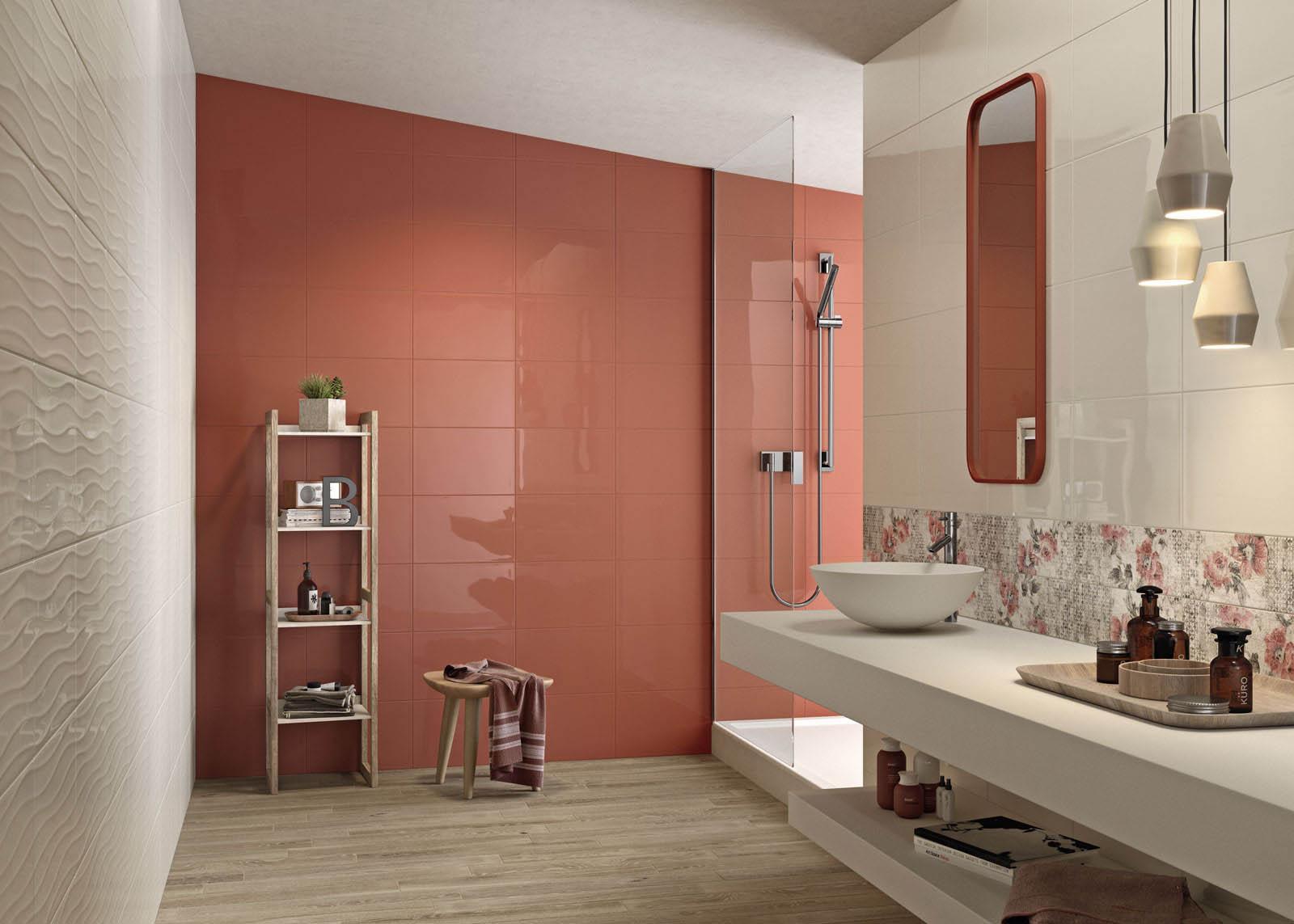 Piastrelle per bagno: colore arancione marazzi