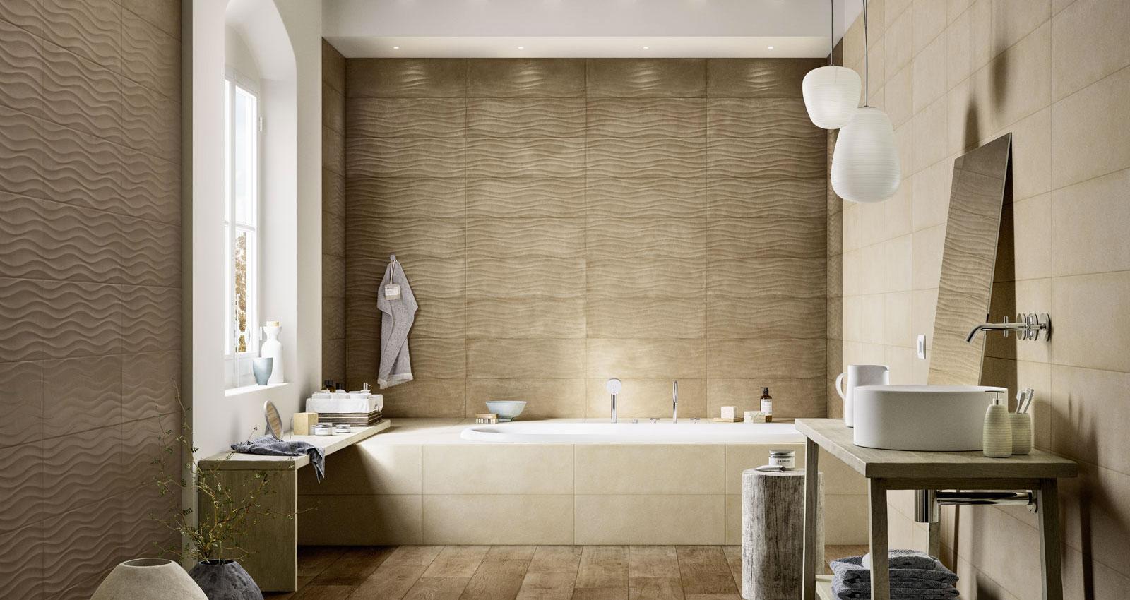 Clayline rivestimento per bagno marazzi - Piastrelle effetto cemento ...