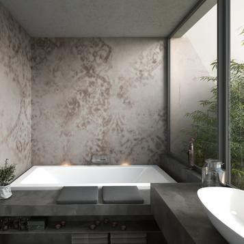 gres porcellanato effetto cotto e cemento per bagno | marazzi