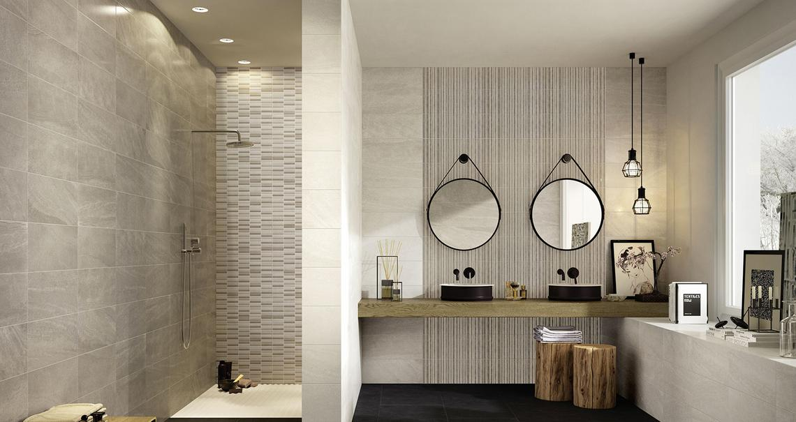 Interiors rivestimento bagno e cucina marazzi - Piastrelle pietra bagno ...