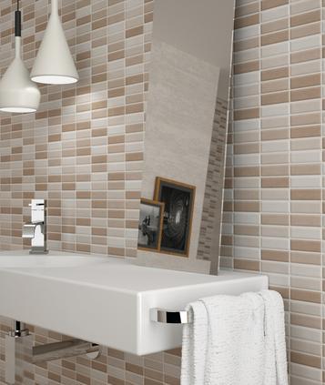 Gres porcellanato effetto cotto e cemento formato mosaico for Piastrelle adesive effetto mosaico