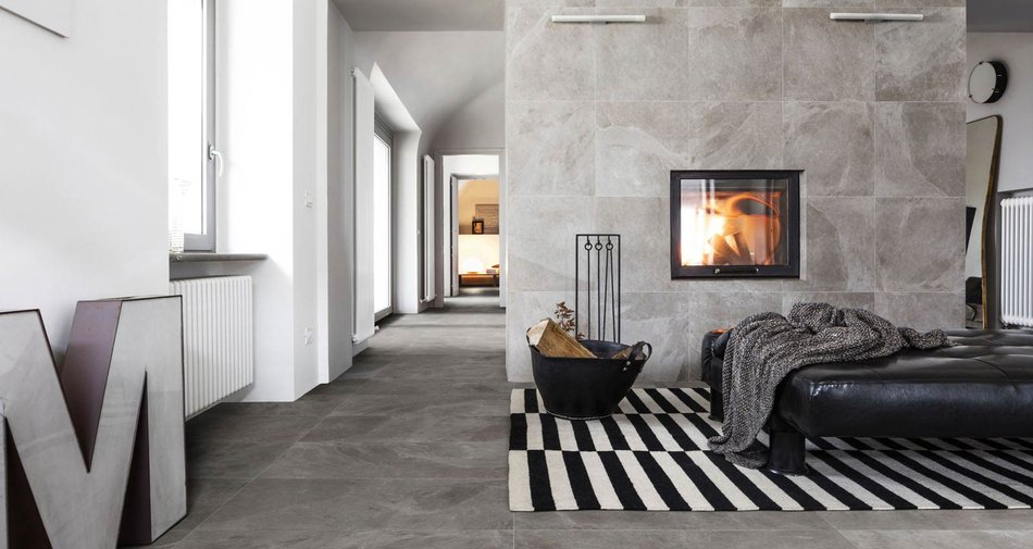 Mystone ardesia: interni stile contemporaneo marazzi