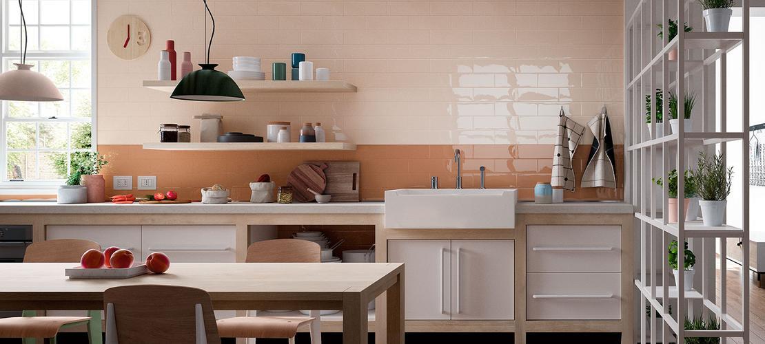 Piastrelle cucina idee in ceramica e gres marazzi - Azulejo imitacion ladrillo ...