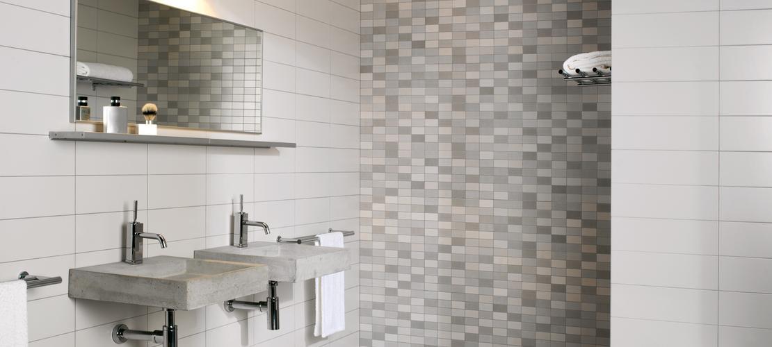 Minimal rivestimento effetto mosaico marazzi - Piastrelle finto mosaico per bagno ...