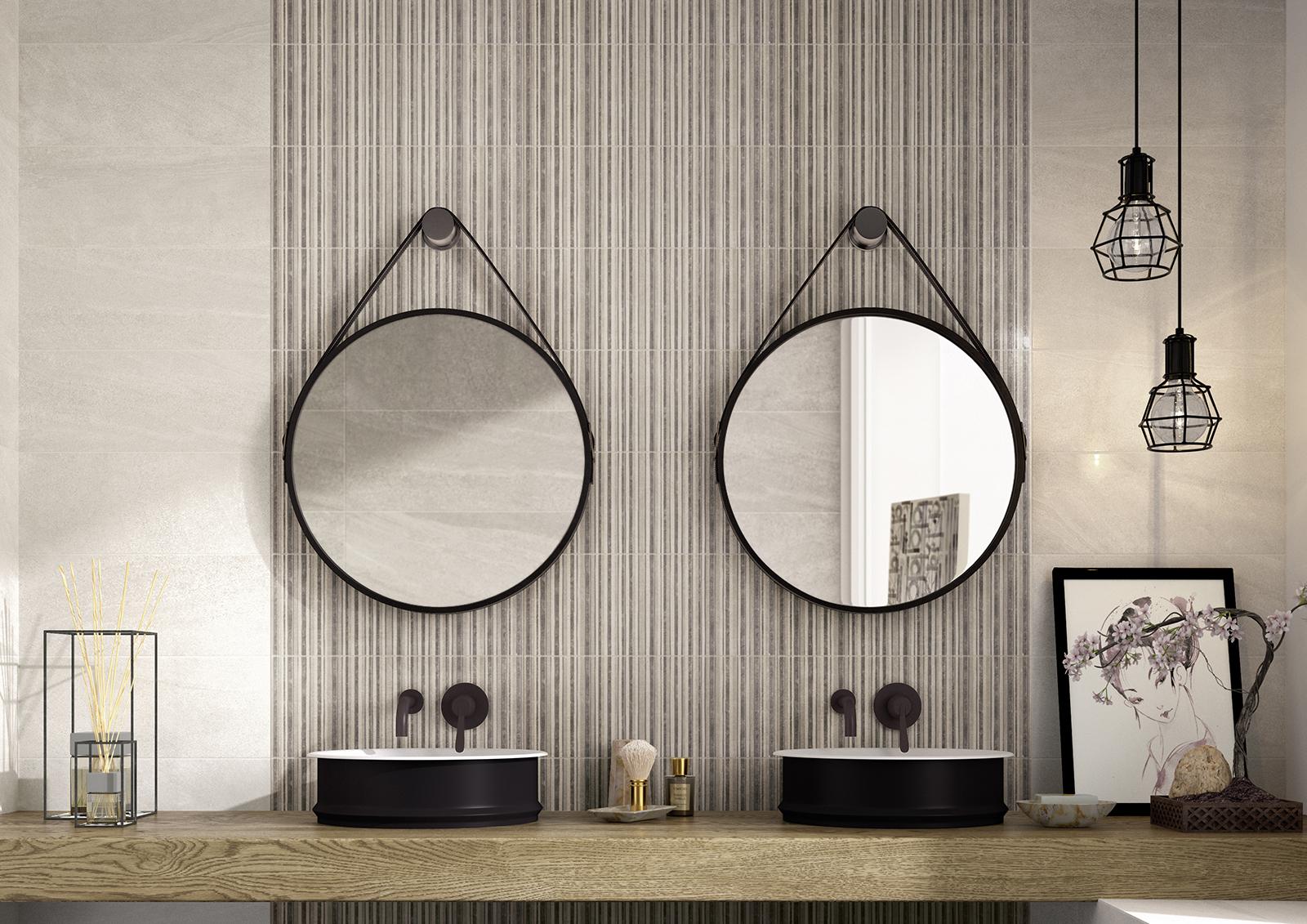 Interiors rivestimento bagno e cucina marazzi - Piastrelle bagno a righe orizzontali ...