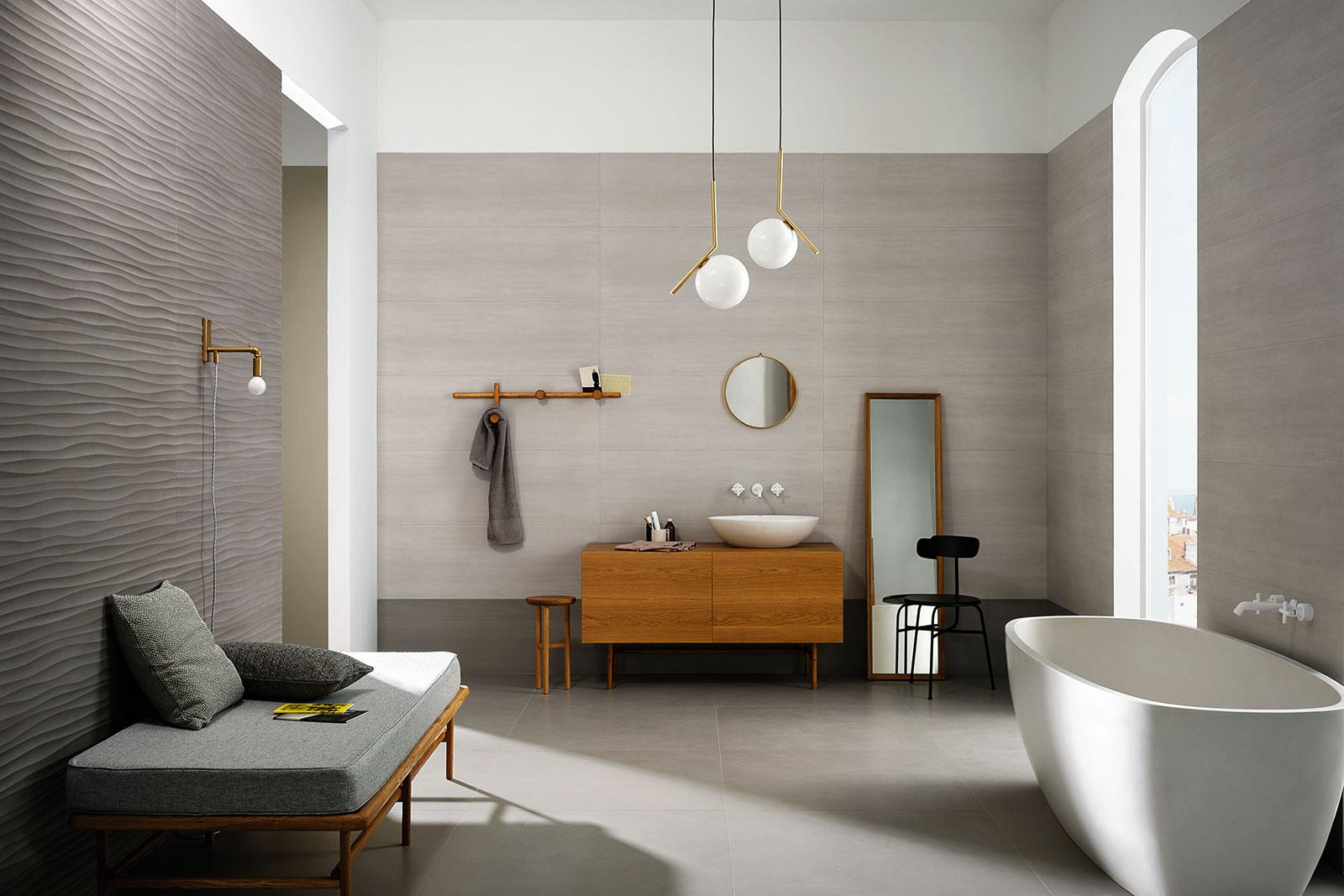 Materika rivestimento effetto cemento satinato marazzi - Piastrelle grigie bagno ...