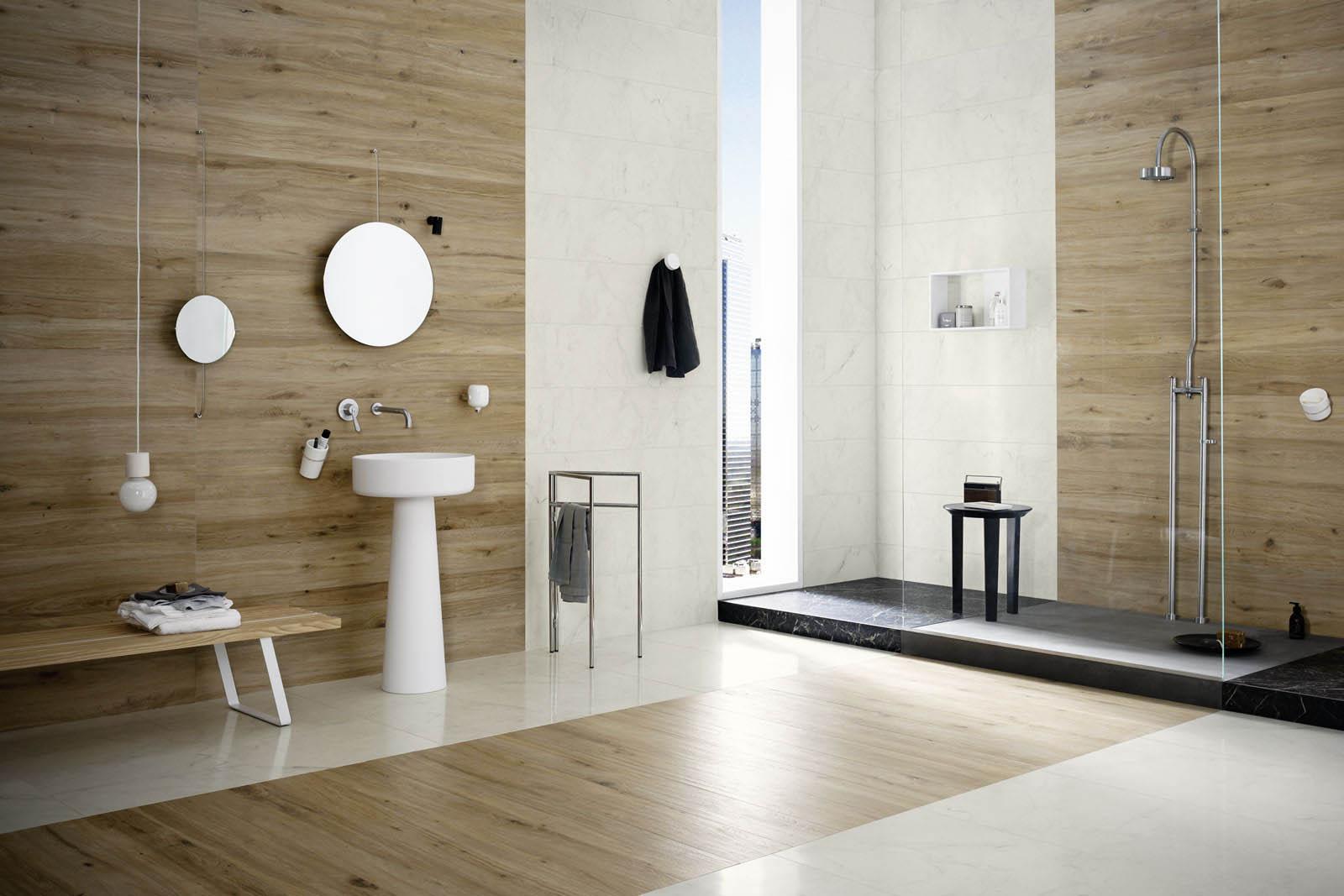 Bagno effetto marmo e legno rivestimenti e pavimenti per il bagno