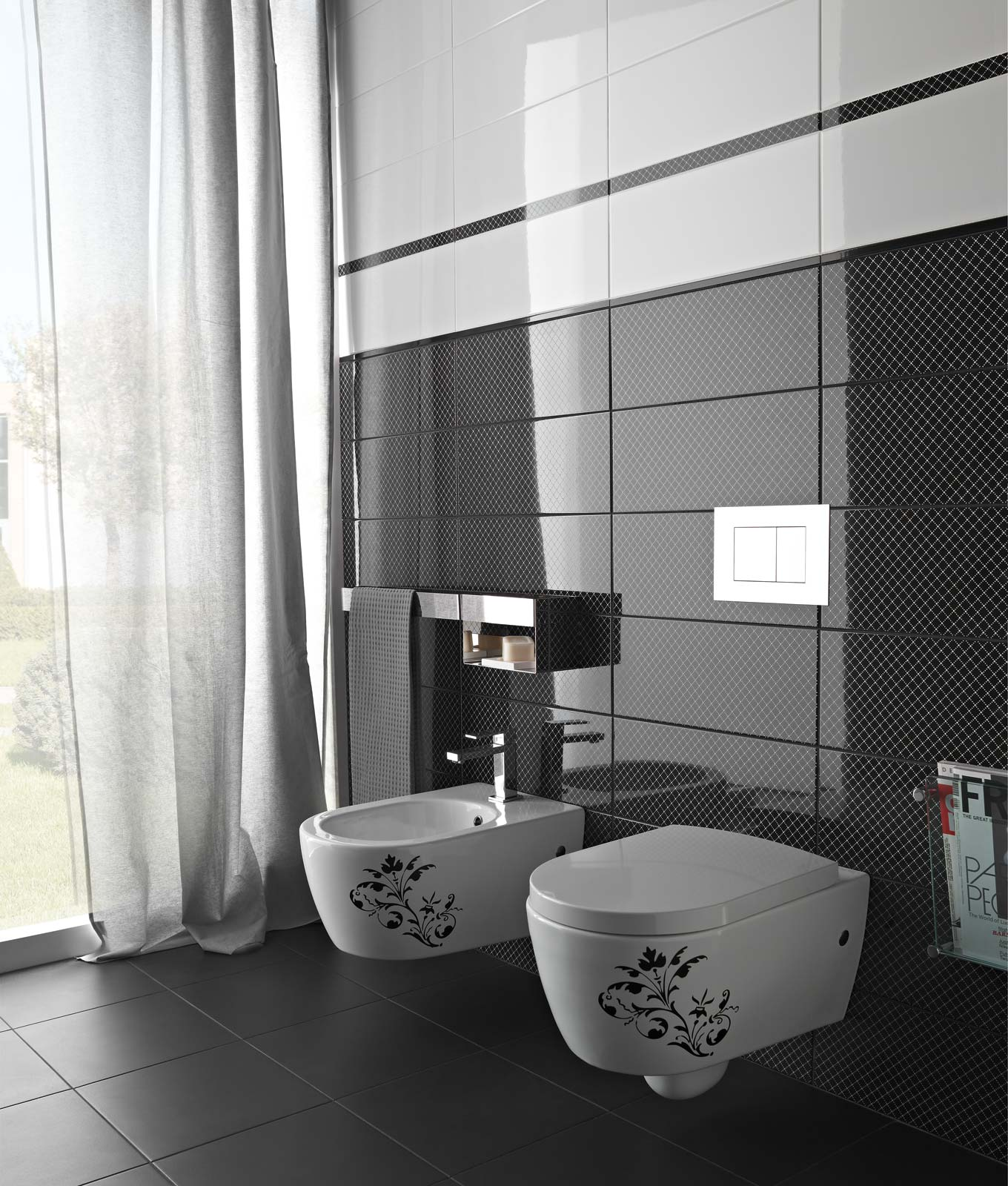 Black white piastrelle per bagno e cucina marazzi - Piastrelle in monocottura ...