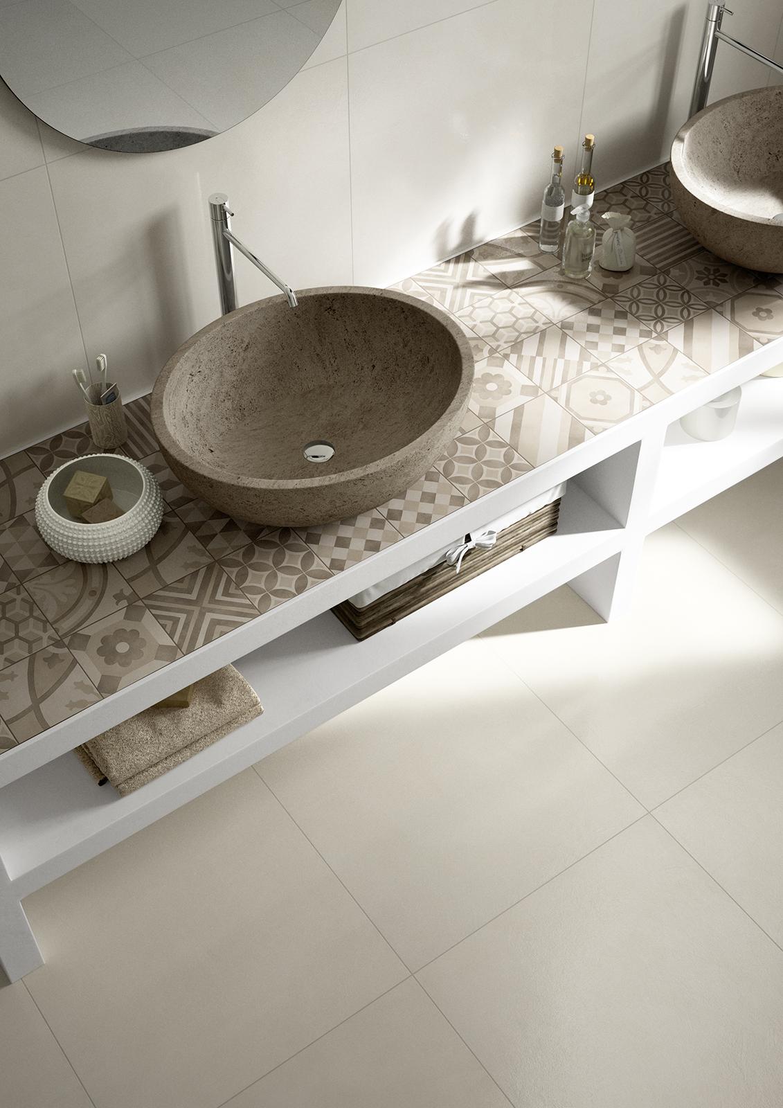 Block gres porcellanato e cementine marazzi - Incollare piastrelle su piastrelle bagno ...
