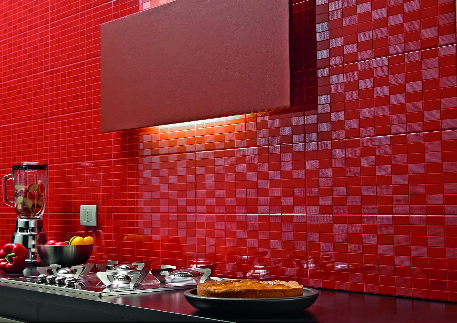 Dots piastrelle da rivestimento lucide marazzi - Bagno mosaico rosso ...