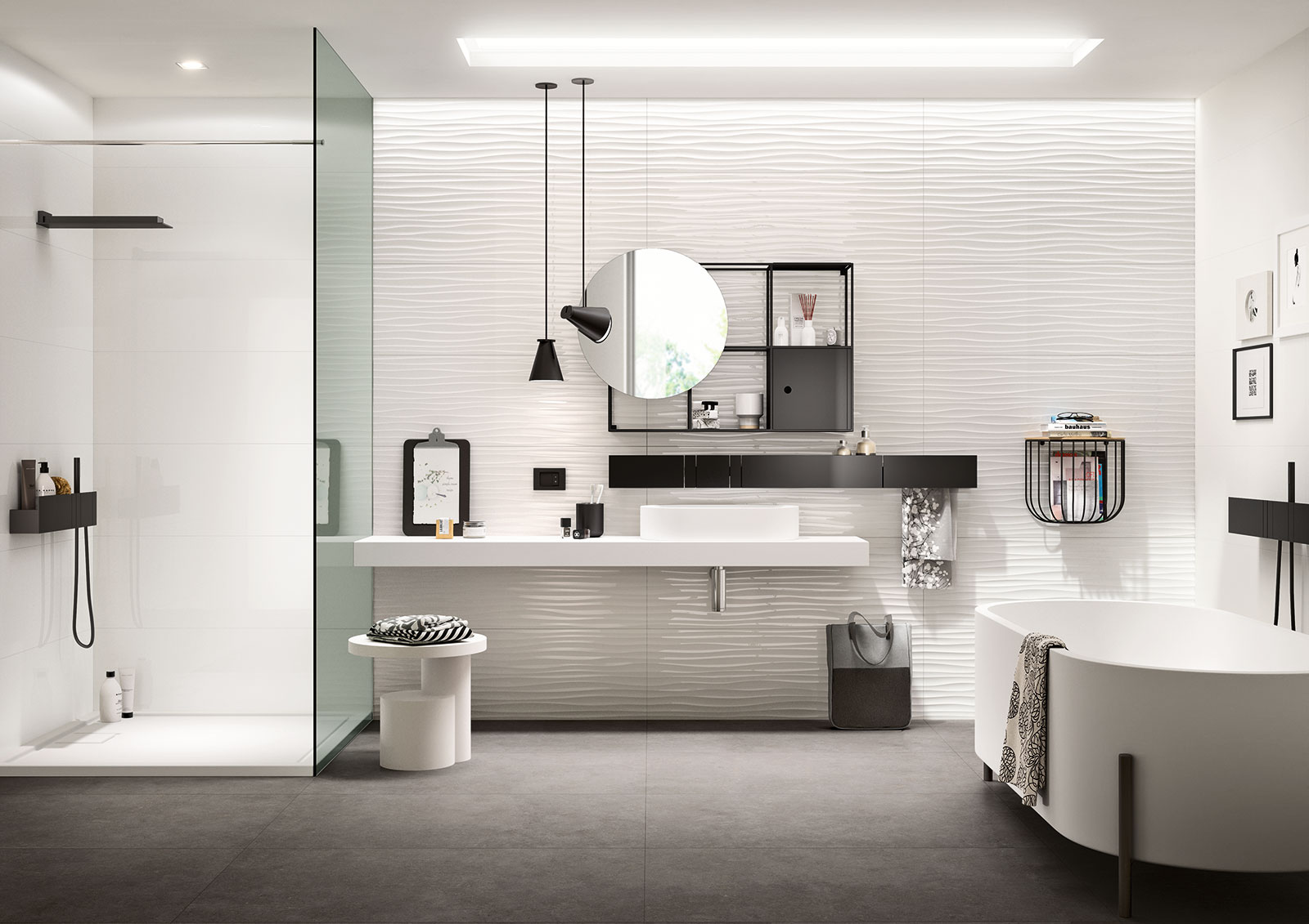 Essenziale ceramica bianca per bagni marazzi - Revestimientos de chimeneas leroy merlin ...