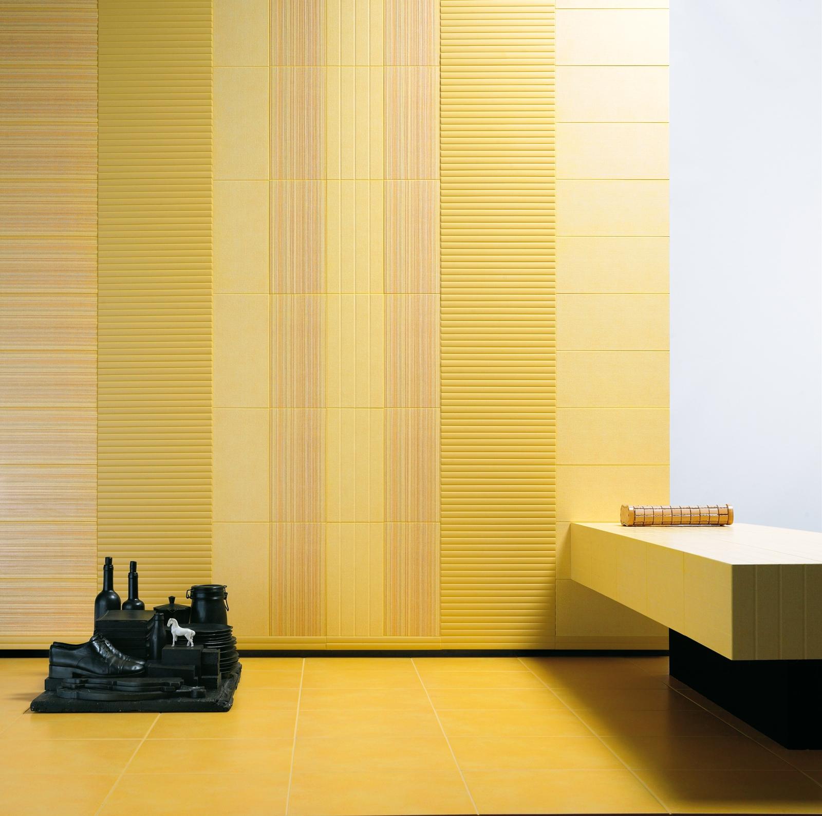 Carrelage jaune en gr s c rame marazzi for Carrelage jaune