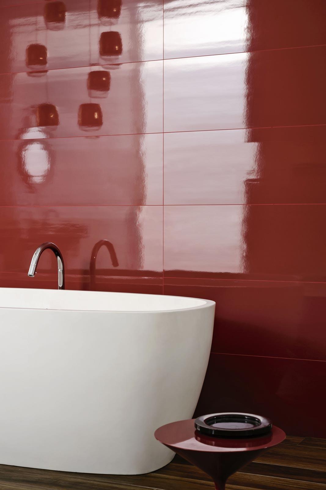 Mattonelle per bagno ceramica e gres porcellanato marazzi - Bagno mosaico rosso ...
