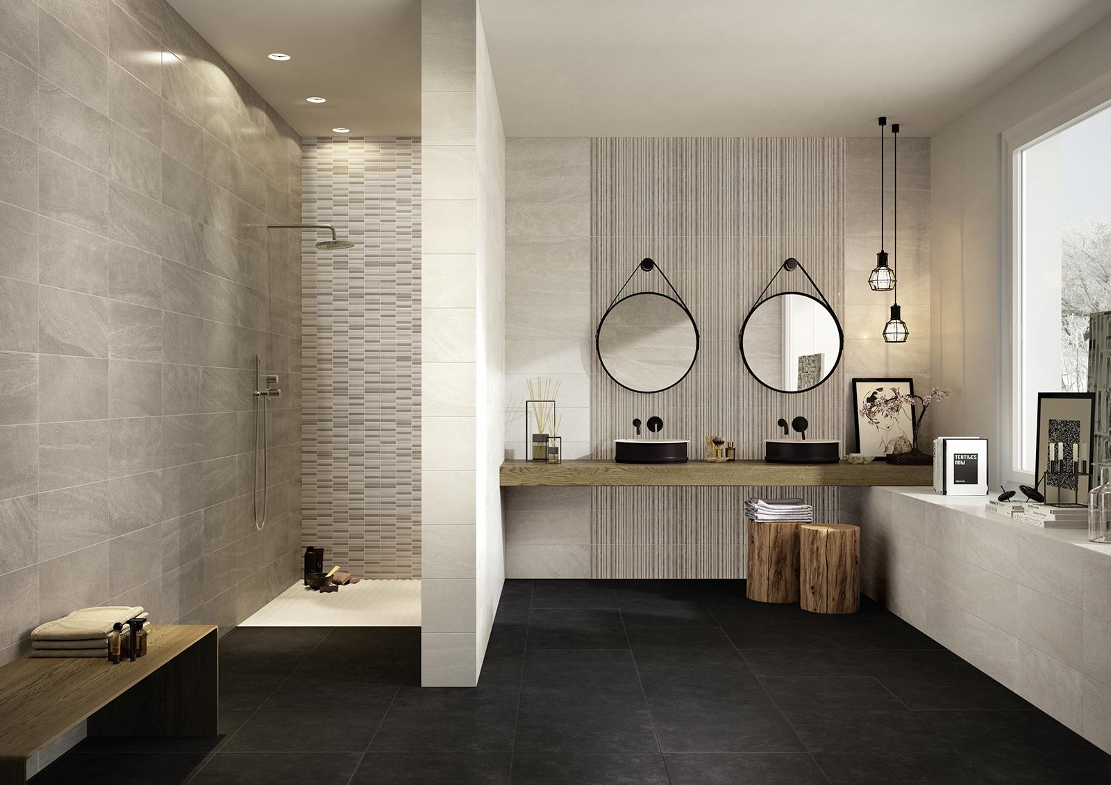 Interiors rivestimento bagno e cucina marazzi for Piastrelle bagno mosaico grigio