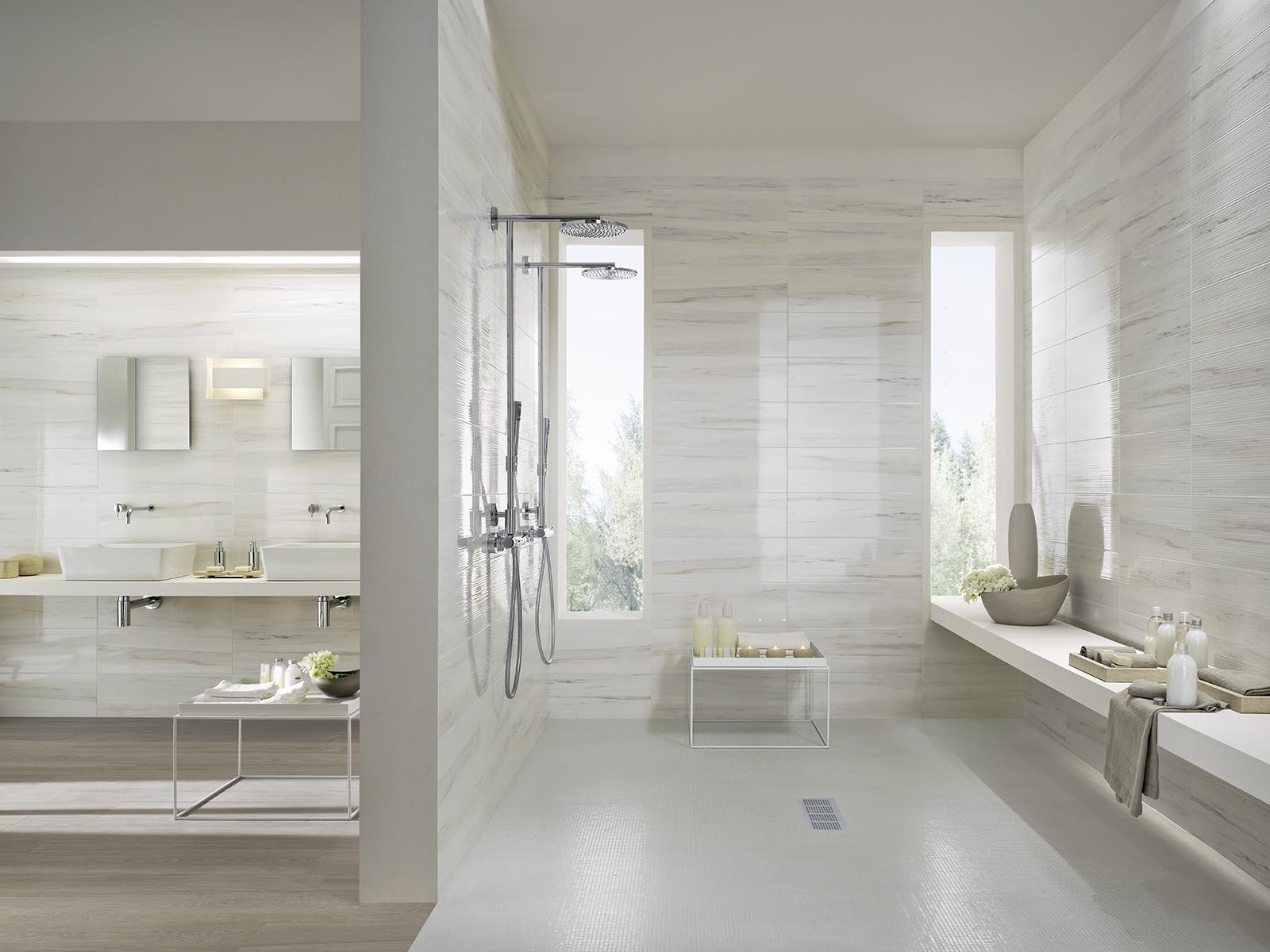 Rivestimento bagno marmo bianco : Marbleline Piastrelle effetto marmo Marazzi