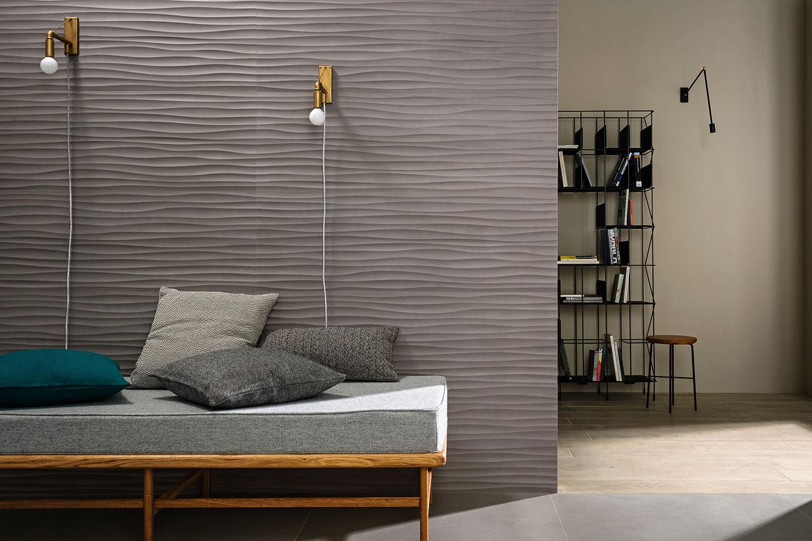 Materika rivestimento effetto cemento satinato marazzi for Rivestimento parete salotto