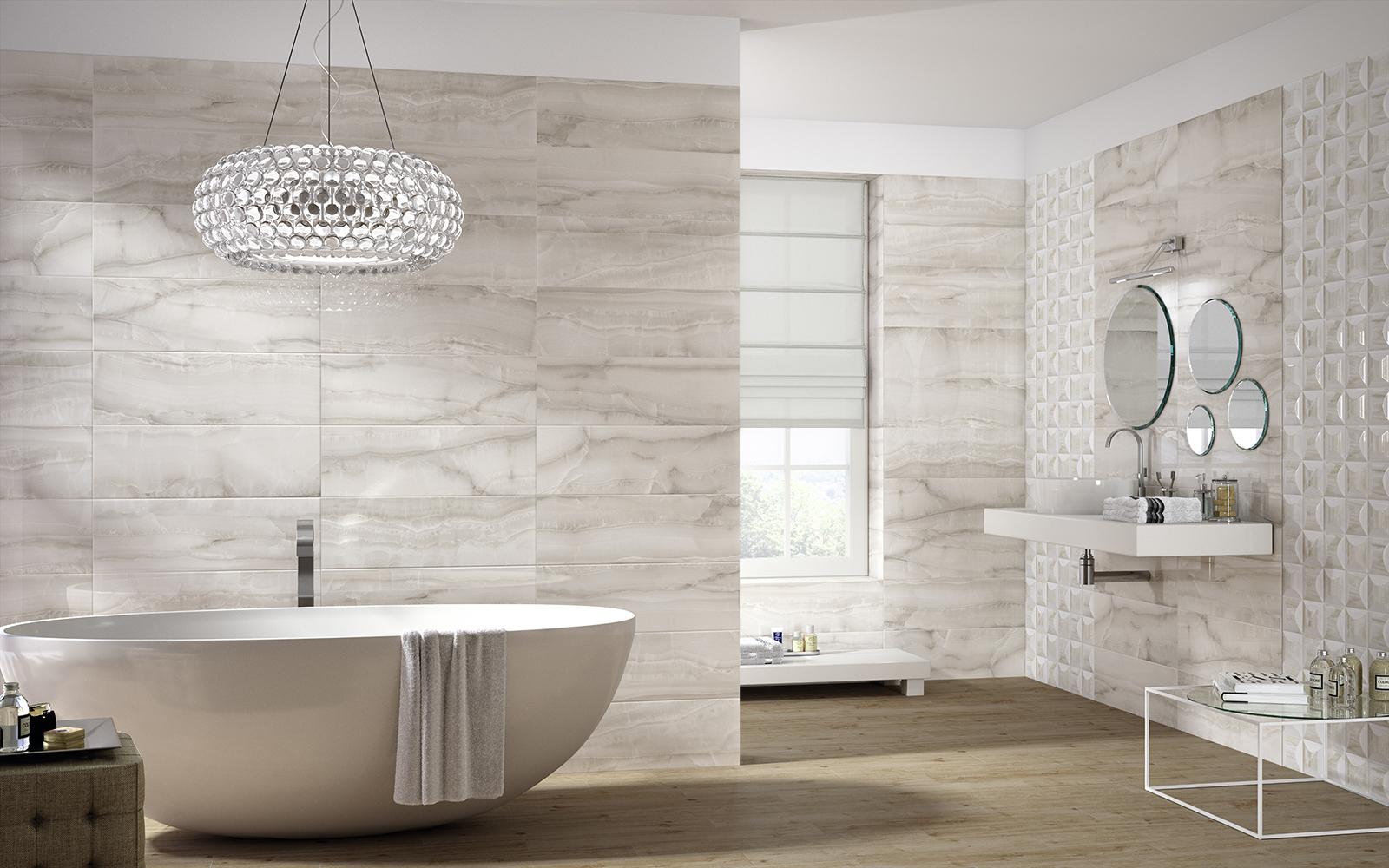 Onix ceramica per bagno effetto marmo marazzi - Finto mosaico bagno ...