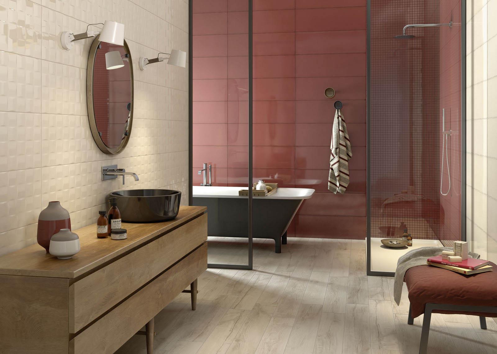 Piastrelle bagno rosa stunning esempio di un bagno di servizio