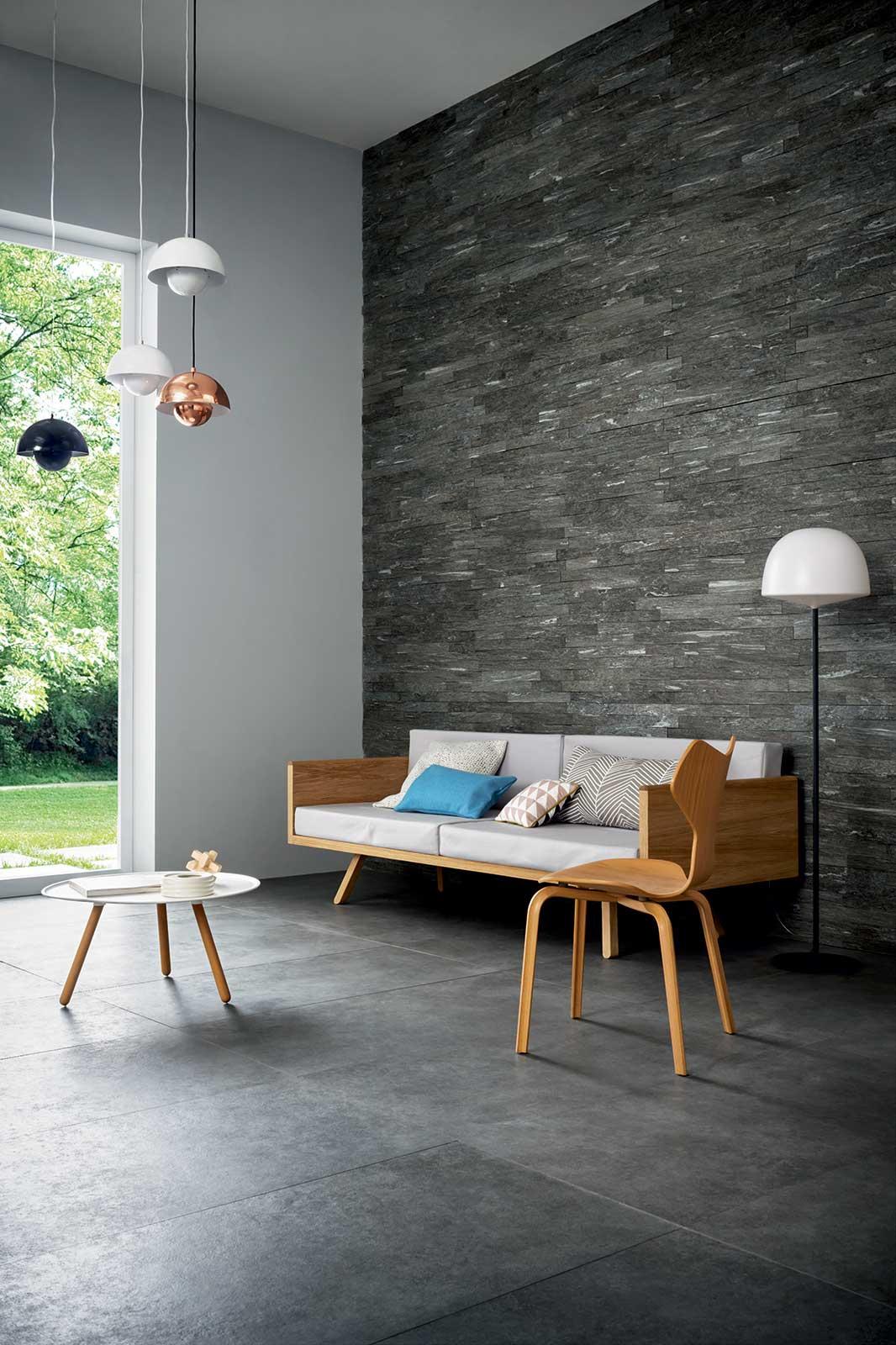 Mystone silverstone gres effetto pietra marazzi for Piastrelle per salone