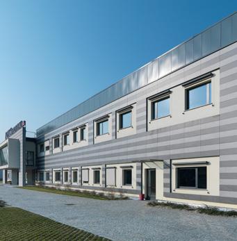 Farmaca International - pavimento sopraelevato facciata ventilata